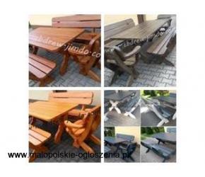 Meble ogrodowe drewniane stół+2 fotele+ 2 ławy